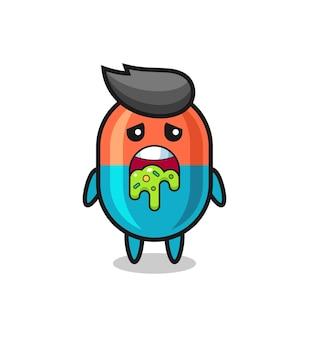Le personnage de capsule mignon avec vomi, design de style mignon pour t-shirt, autocollant, élément de logo