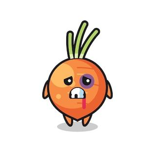 Personnage de carotte blessé avec un visage meurtri, design de style mignon pour t-shirt, autocollant, élément de logo