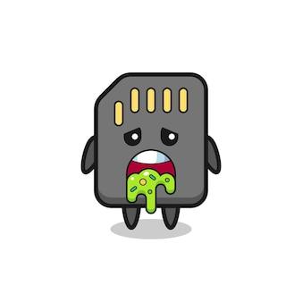 Le personnage de carte sd mignon avec vomi, design de style mignon pour t-shirt, autocollant, élément de logo