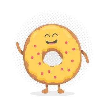 Personnage en carton de dessin animé de menu de restaurant pour enfants. modèle pour vos projets, sites web, invitations. donut mignon drôle dessiné avec un sourire, des yeux et des mains.