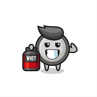 Le personnage de cellule bouton musculaire tient un supplément de protéines, un design de style mignon pour un t-shirt, un autocollant, un élément de logo