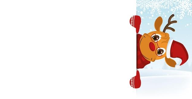 Personnage de cerf en écharpe de noël, chapeau et verre. illustration vectorielle