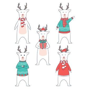 Personnage de cerf de noël avec des vêtements ou un style différents
