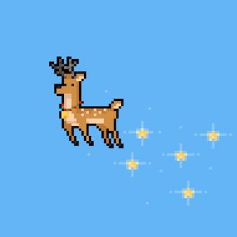 Personnage de cerf de pluie volant avec dessin animé pixel art avec étoile.