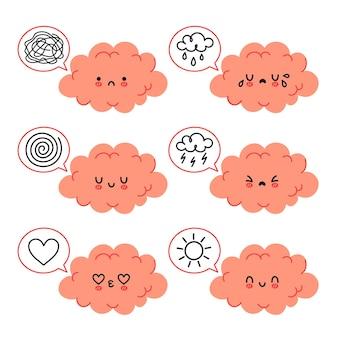 Personnage de cerveau drôle mignon dans un ensemble d'humeurs émotionnelles différentes