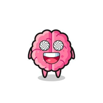 Personnage de cerveau mignon avec des yeux hypnotisés, design de style mignon pour t-shirt, autocollant, élément de logo