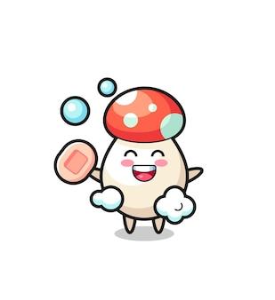 Le personnage de champignon se baigne tout en tenant du savon, un design de style mignon pour un t-shirt, un autocollant, un élément de logo