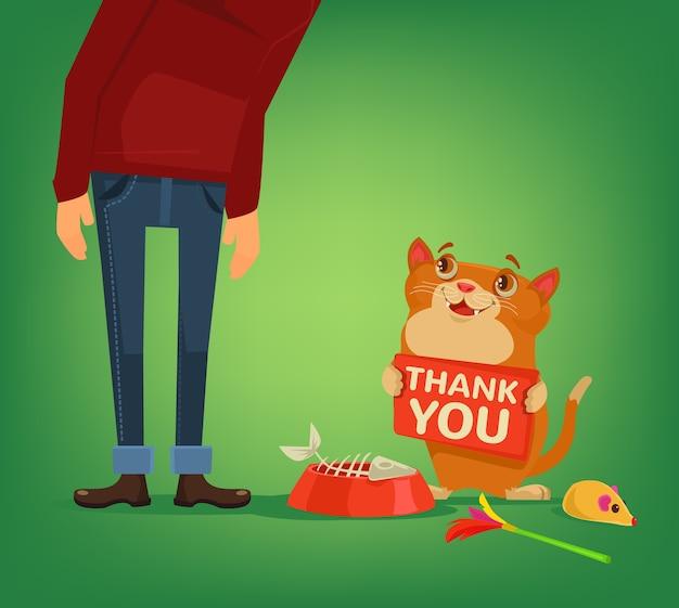 Personnage de chat heureux tenir la plaque avec des mots de remerciement à l'illustration de dessin animé de propriétaire