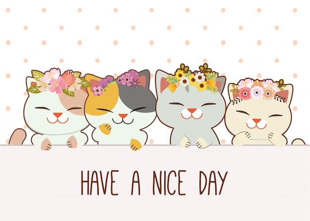 Personnage de chat mignon avec des amis porte une couronne de fleurs