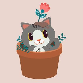 Le personnage de chat mignon assis dans le cache-pot.