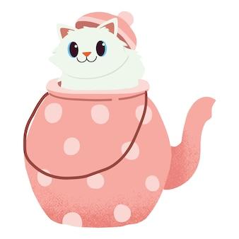 Le personnage de chat mignon assis dans la théière. c'est l'heure du thé.