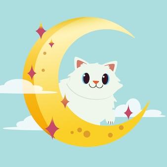 Le personnage de chat mignon assis sur la lune. le chat assis et il a l'air heureux.