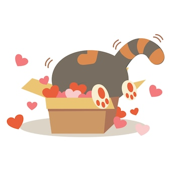 Personnage de chat mignon dans la boîte en papier avec beaucoup de coeur.