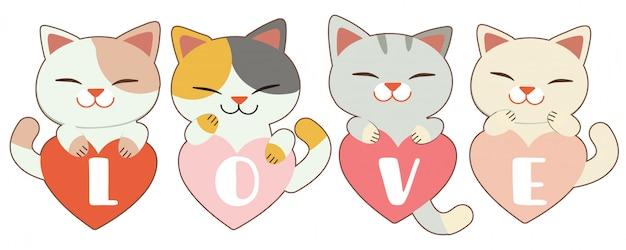 Le personnage de chat mignon garpe le coeur sur blanc