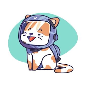 Personnage de chat mignon porter illustration de casque astronaute de l'espace