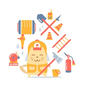 Personnage chat pompier en combinaison et casque