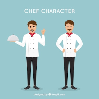 Personnage de chef en design plat