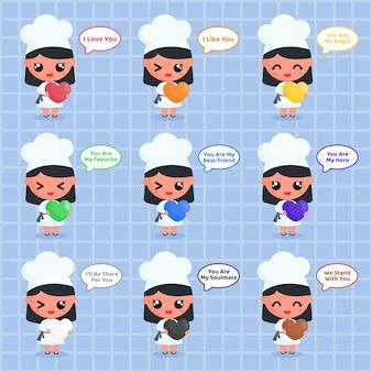 Personnage de chef mignon tenant des émoticônes d'amour colorées et un dicton positif dans la bulle de dialogue