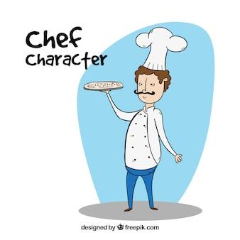 Personnage de chef avec pizza