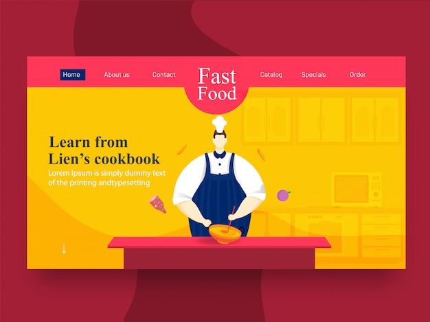 Personnage de chef tenant une batterie de cuisine (kadai) avec une louche sur la vue de la cuisine pour apprendre à partir de la page de destination du livre de recettes de lien.