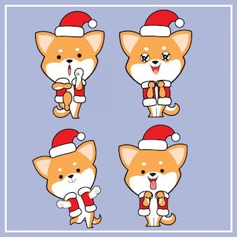 Personnage de chien shiba inu dessiné à la main mignonne de kawaii avec collection de chapeaux de noël