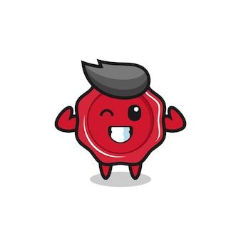 Le personnage de cire à cacheter musculaire pose en montrant ses muscles, un design de style mignon pour un t-shirt, un autocollant, un élément de logo
