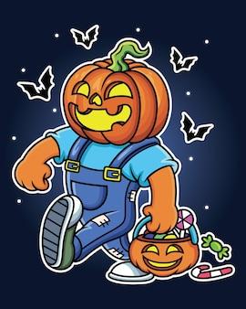 Personnage de citrouille d'halloween avec grand sourire. isolé