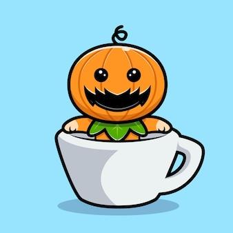 Personnage de citrouille mignon à l'intérieur d'une illustration de dessin animé de tasse