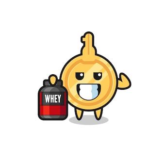 Le personnage clé musculaire tient un supplément de protéines, un design mignon