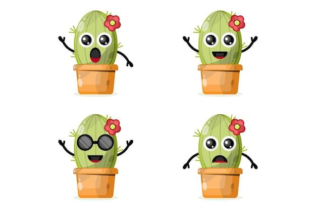 Personnage de conception de logo cactus en pot mignon