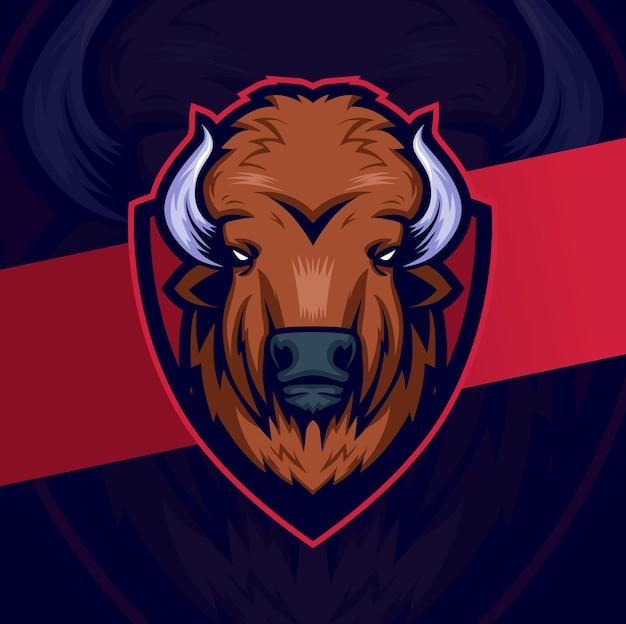 Personnage de conception de logo d'esport de mascotte de tête de bison avec le grand logo de bouclier pour le sport et le jeu