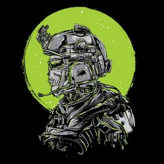Personnage de conception de soldat de crâne