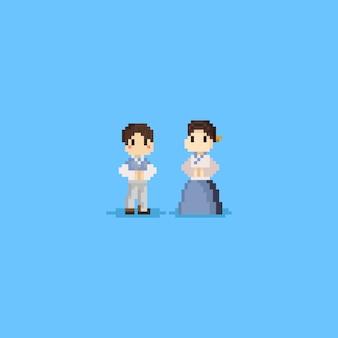 Le personnage coréen de pixel porte le hanbok