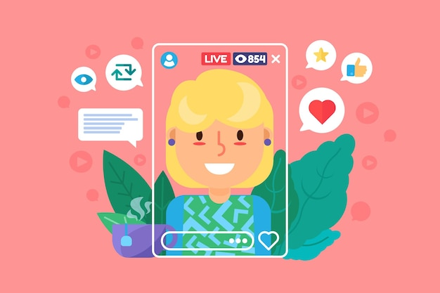 Personnage de couleur plate banderole fille européenne. femme blogueuse enregistrant une émission en ligne. crée du contenu dans la vraie vie. illustration de dessin animé isolé flux en direct