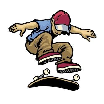 Personnage de crâne jouant à la planche à roulettes faisant un kickflip