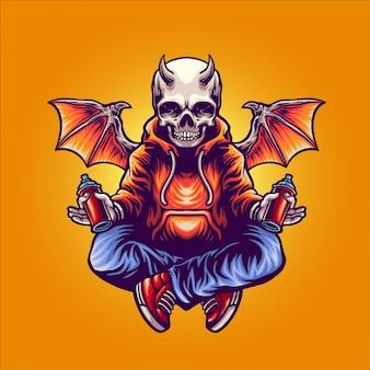 Personnage de créateur de graffiti démon