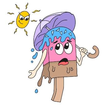 Le personnage de la crème glacée porte un parapluie sous le soleil brûlant. émoticône autocollant illustration de dessin animé