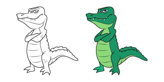 Personnage de crocodile en illustration vectorielle de version noir et blanc et couleur