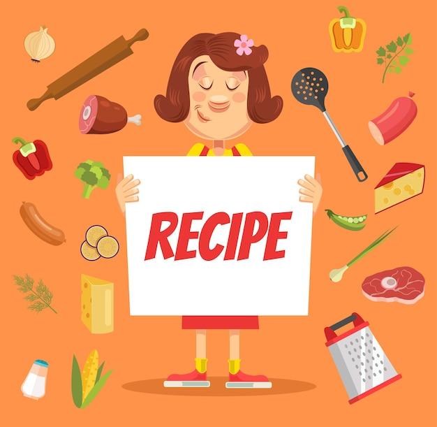 Le personnage de la cuisinière tient le papier de recette