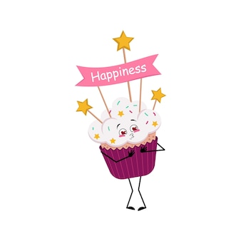 Un personnage de cupcake mignon tombe amoureux des yeux, des coeurs embrassent le visage, des bras et des jambes, des aliments sucrés avec des décorations ...