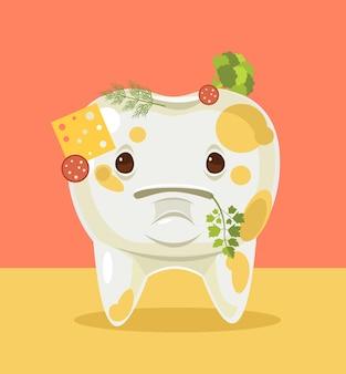 Personnage de dent sale avec illustration de dessin animé de nourriture