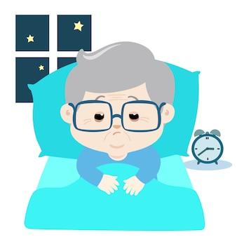 Personnage de dessin animé âgé souffre d'insomnie.