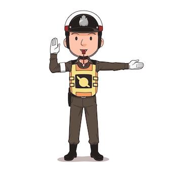 Personnage de dessin animé de l'agent de police de la circulation thaïlandais
