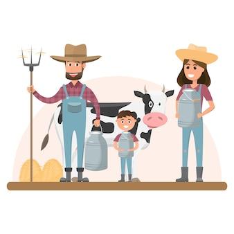Personnage de dessin animé agriculteur avec vache laitière dans une ferme rurale bio