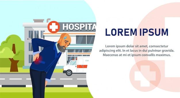 Personnage de dessin animé allant à l'hôpital