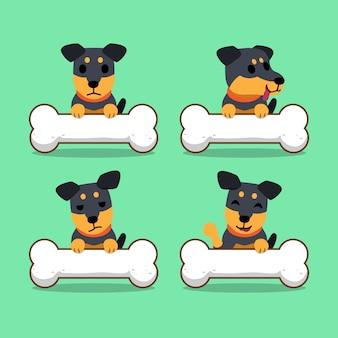 Personnage de dessin animé allemand chien de chasse terrier avec de gros os