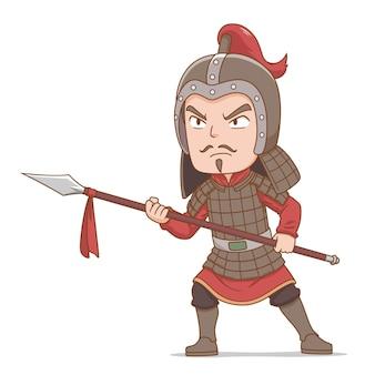 Personnage de dessin animé de l'ancien soldat chinois