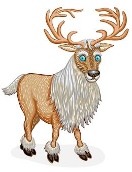 Personnage de dessin animé animal renne debout. isolé sur fond blanc. illustration vectorielle.