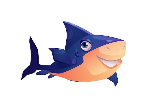 Personnage de dessin animé animal sous-marin requin à dents