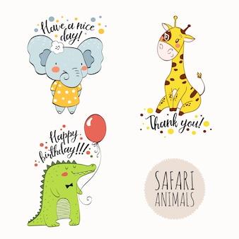 Personnage de dessin animé animaux safari dessinés à la main.